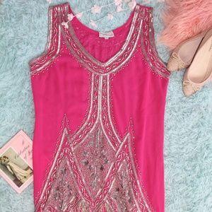 Unique Vintage Hot Flapper Dress Hot Pink